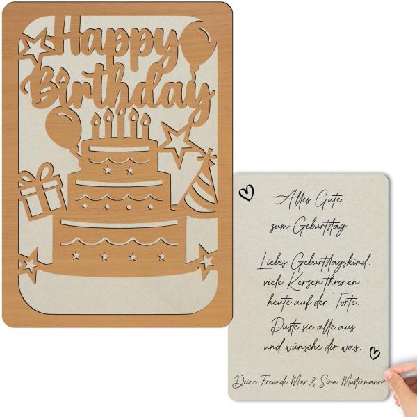 Glückwunschkarte aus Holz zum Geburtstag