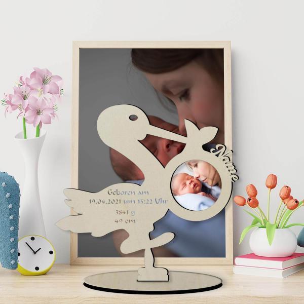 Storch zur Geburt Klapperstorch aus Holz zum aufstellen mit Foto Druck