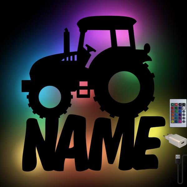 Traktor Wand Nachtlicht personalisiert mit RGB Farbwechsel