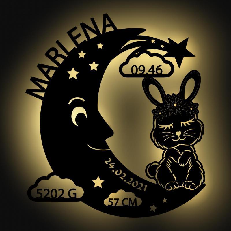 - Schlummerlicht Mond Hase Personalisiertes Baby Geschenk - Onlineshop Schlummerlicht24