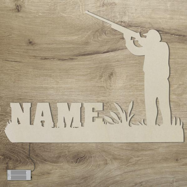 Holz Jäger Jagd Geschenkidee mit Namen