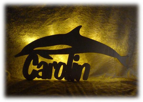 Holz Delfin Led Deko Lampe mit Namen