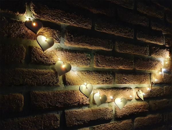 Herz Girlande Holz LED