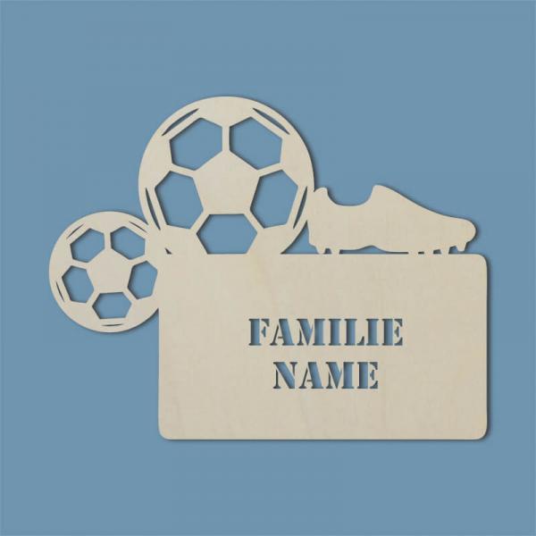 Familienschild Fußball Haustür Unbehandelt