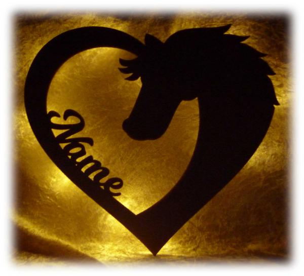 Pferde Maske Sport Lampe mit Namen - Zubehör für das Zimmer