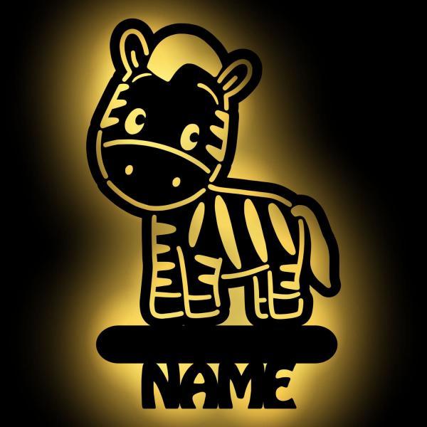 Zebra Kinder Lampe Nachtlicht personalisiert mit Namen