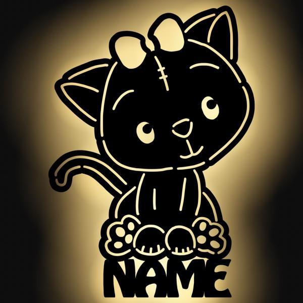 Katze Wand Lampe personalisiert mit Namen aus Holz