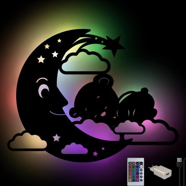 Kinder Mondlampe Teddy Nachtlicht aus Holz