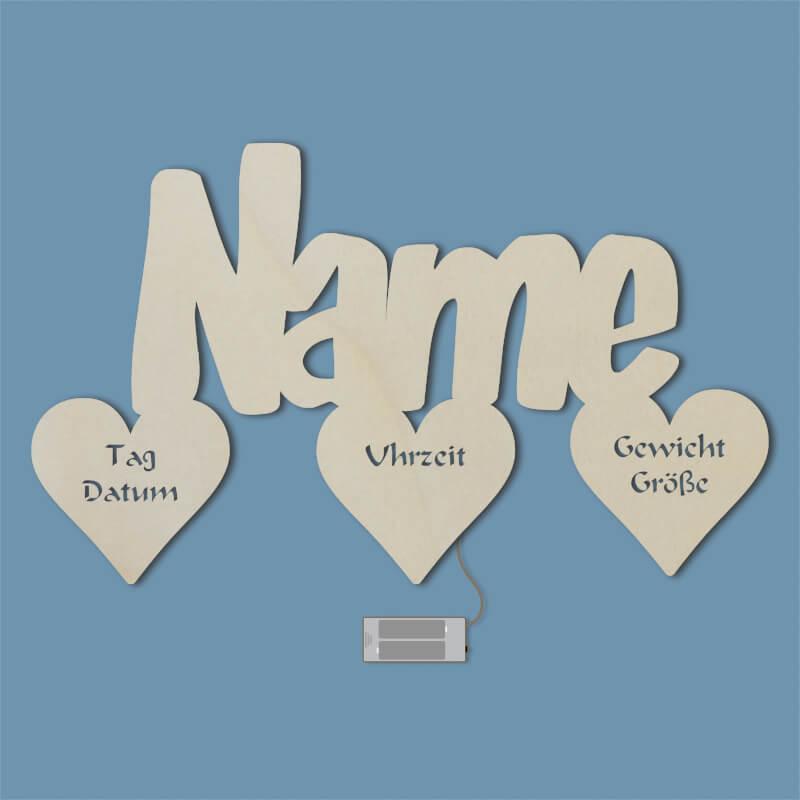 - 3 Herzen Taufgeschenk Taufe Geburt Kommunion Geschenk Mädchen Junge - Onlineshop Schlummerlicht24