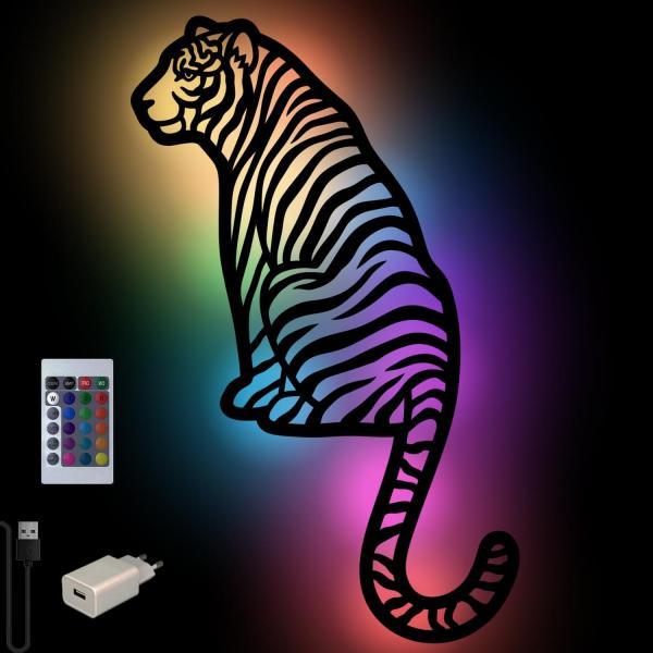 Tiger Wand Lampe aus Holz