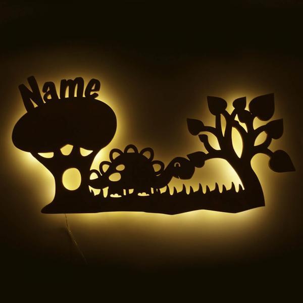 Dino Nachtlicht aus Holz mit Namen - LED