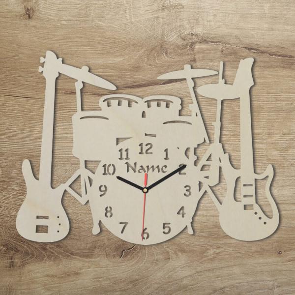 Wanduhr für Musiker Musik Wand Uhr Rockband Band Geschenkidee Unbehandelt