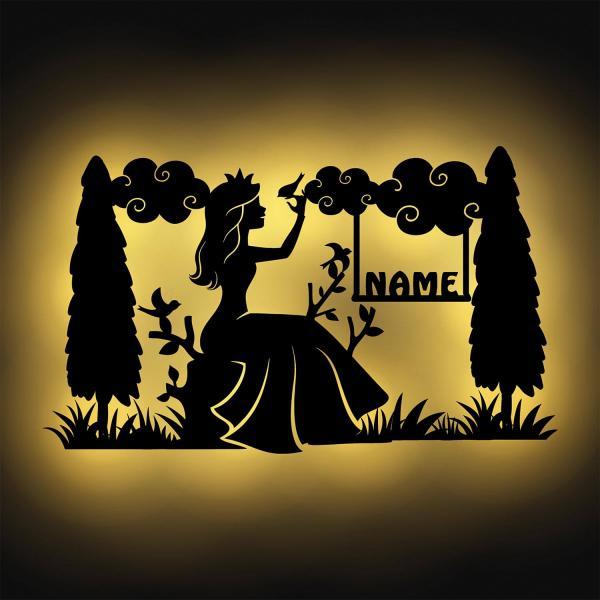 Nachtlicht Prinzessin Eis-Königin Prinzessinnen Geschenke Holz Wand-Lampe Schlummerlicht personalisiert Mädchen Frauen