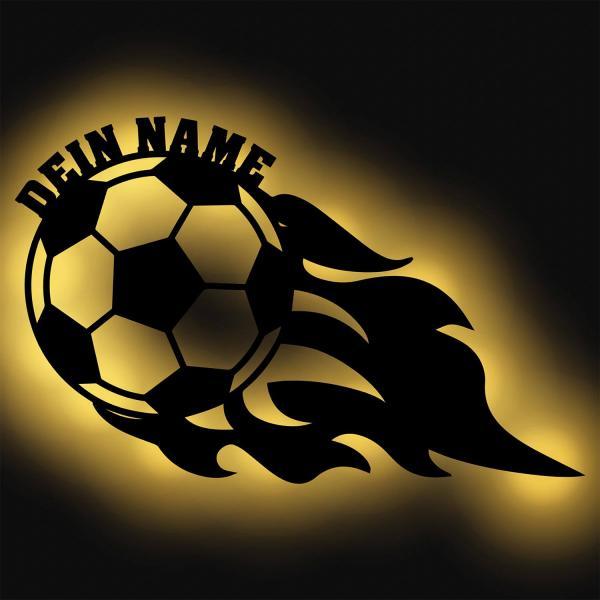 Fußball Holz Deko Lampe Wand Nachtlicht LED mit Namen