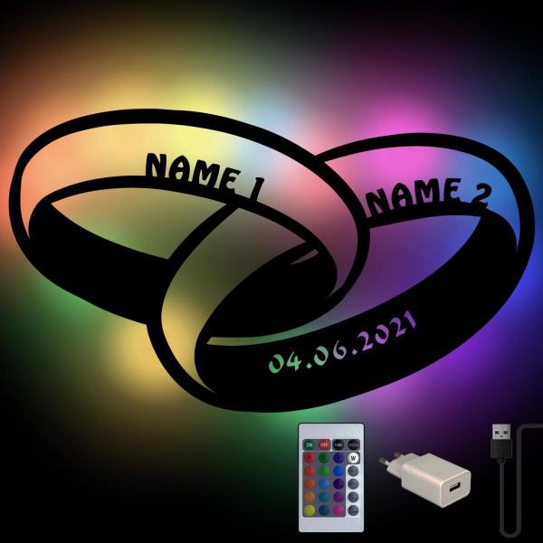 USB Eheringe mit Farbwechsel und Fernbedienung zur Hochzeit