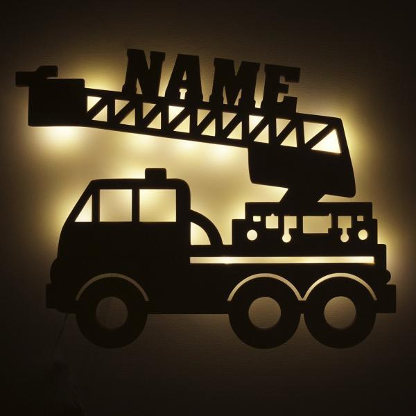 Nachtlicht Feuerwehrauto mit Namen