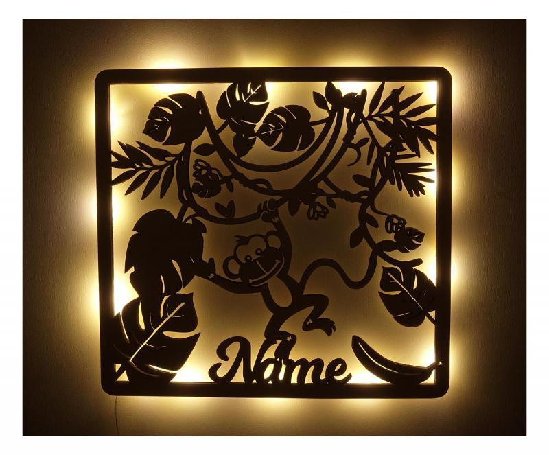 - 015 Baby Junge Mädchen Kinder Affe LED Geschenke mit Namen - Onlineshop Schlummerlicht24