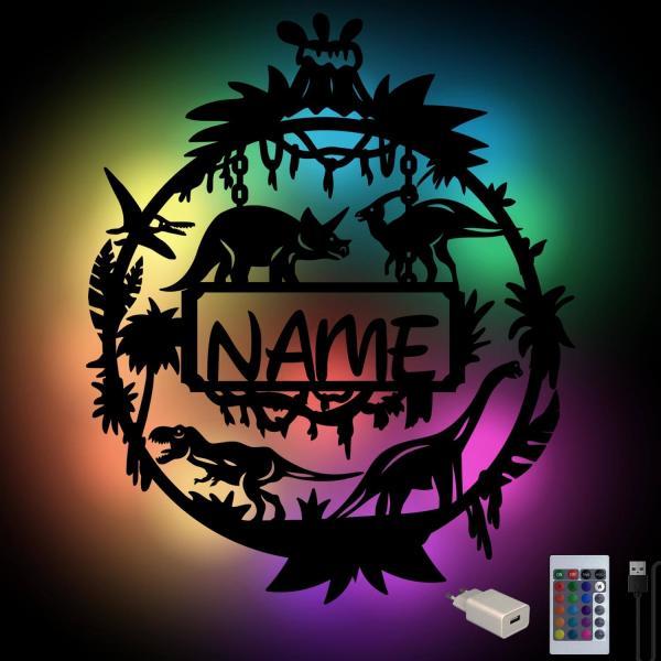 Farbwechsel Dino Nachtlicht mit Namen + Fernbedienung