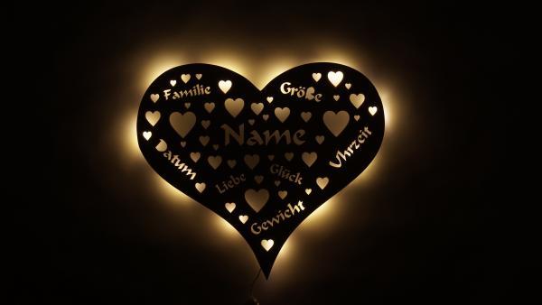 Herz Design Lampe für Familie mit Baby