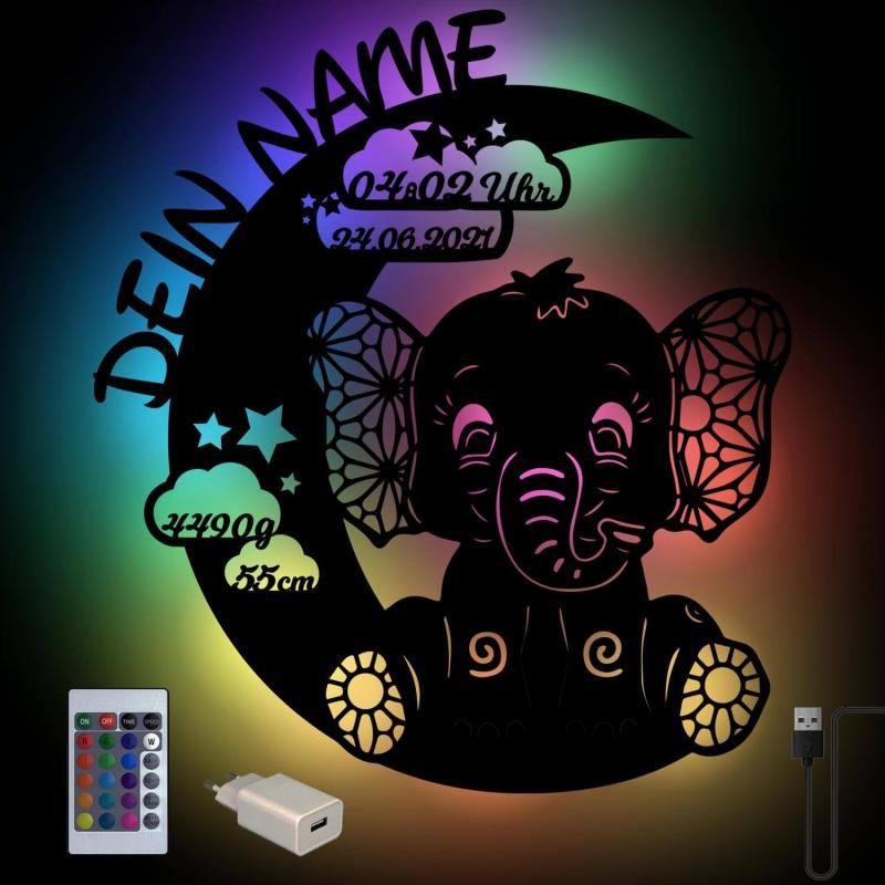 - USB Farbwechsel Elefant auf dem Mond Holz Lampe - Onlineshop Schlummerlicht24