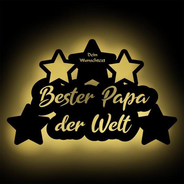 Wir lieben Dich Papa LED Holz Geschenkidee + Namen