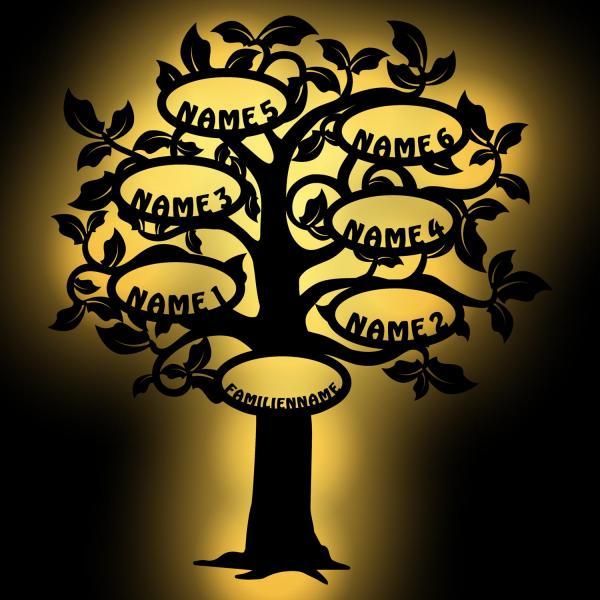 Familien Stammbaum LED Deko Baum 6 Namen