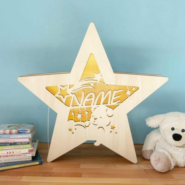Leuchtstern schlafender Bär mit Namen