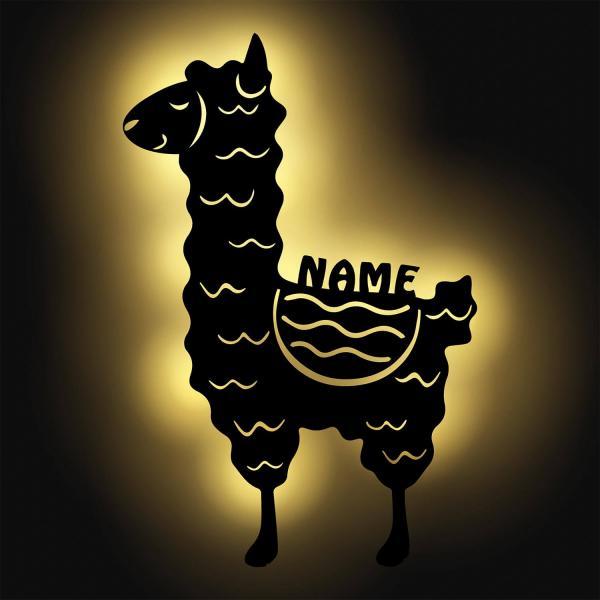 Lama Nachtlicht Schlummerlicht Lampe mit Namen