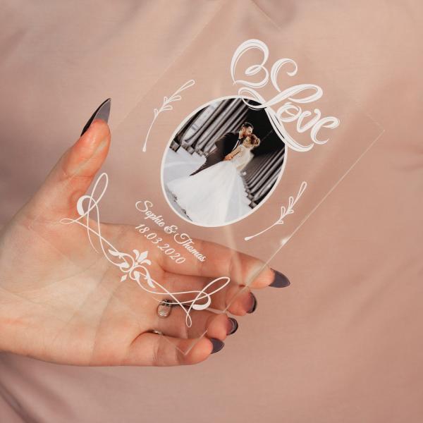 Bedrucktes Acrylglas mit Personalisierung für Paare