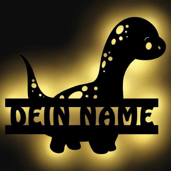 Dinosaurier LED Nachtleuchte mit Namen personalisiert