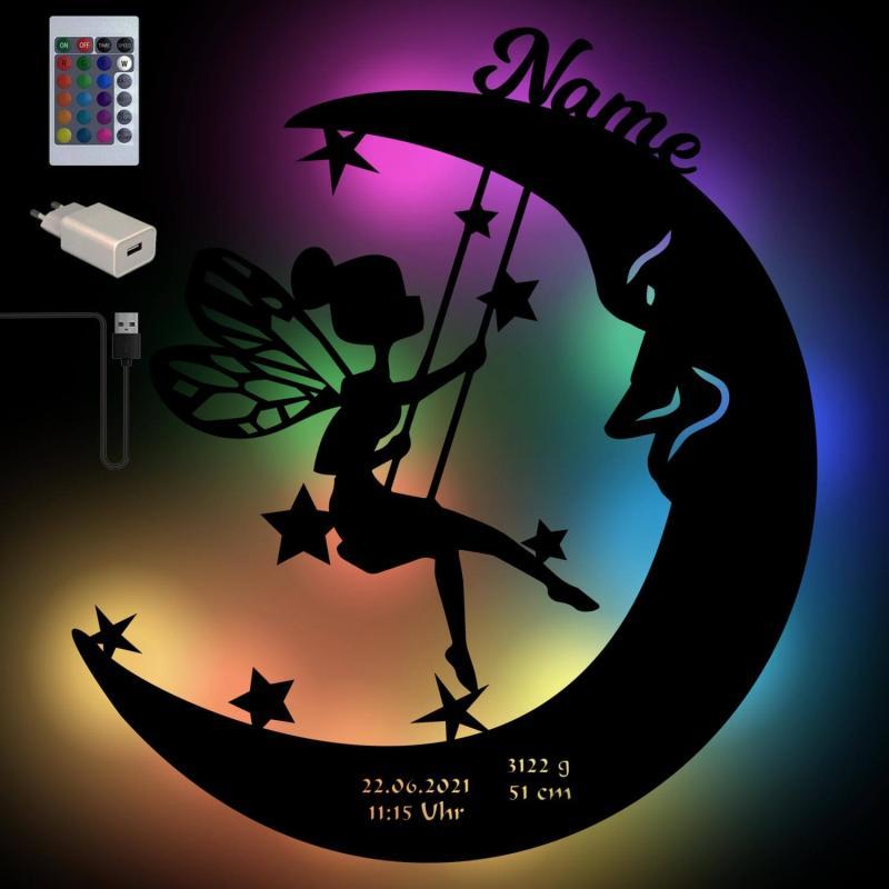 - USB Farbwechsel Fee auf dem Mond Holz Nachtlicht - Onlineshop Schlummerlicht24