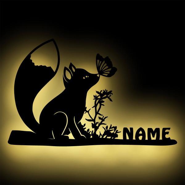 Fuchs mit Schmetterling Baby Kinder Nachtlicht Wand Lampe