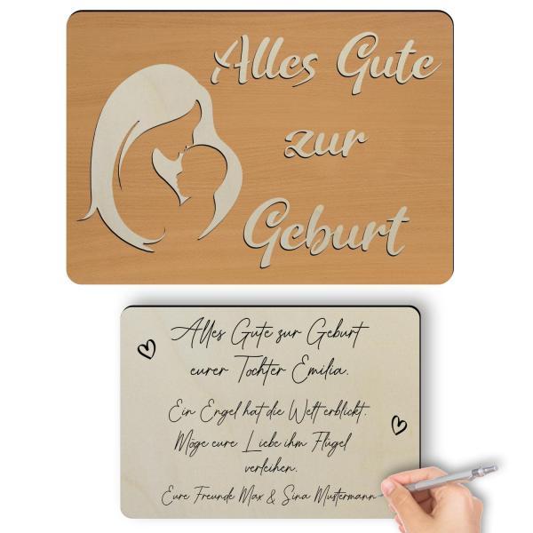 Holz Glückwunschkarte zur Geburt