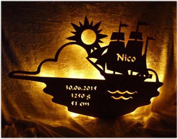 Schiffsfahrt Schifflampe mit Namen