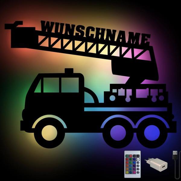 Feuerwehr Auto Nachtlicht mit Farbwechsel und Namen personalisiert