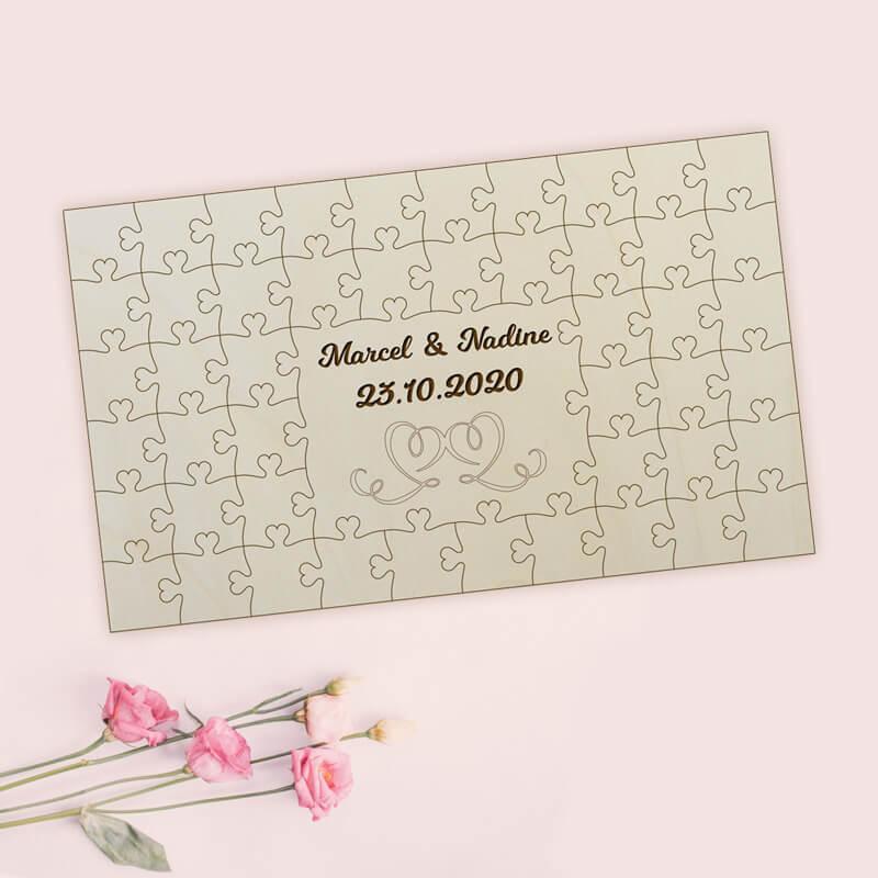 - Gästebuch zur Hochzeit Holz Herz Puzzle - Onlineshop Schlummerlicht24