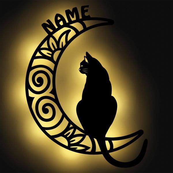 Katze Nachtlicht auf Mond XXL mit Namen