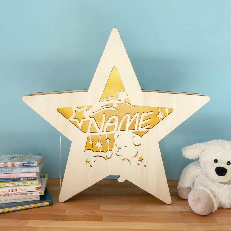 - Leuchtstern schlafender Bär mit Namen I Nachtlicht - Onlineshop Schlummerlicht24