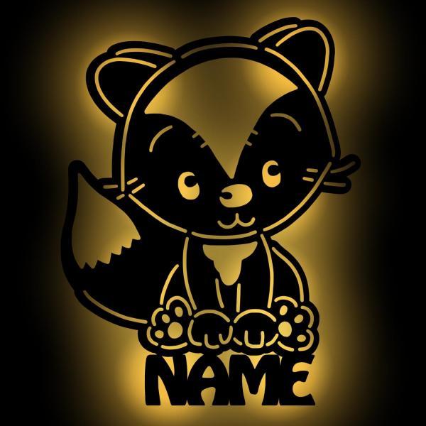 Baby Fuchs Wand Lampe Nachtlicht mit Namen personalisiert
