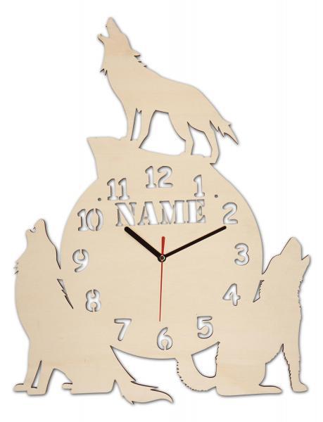 Geschenk Uhr Wolf