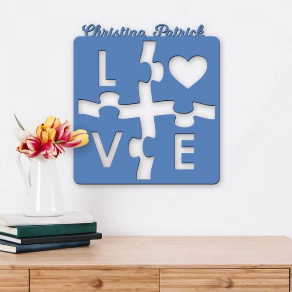 Wanddeko Puzzle Love mit Namen