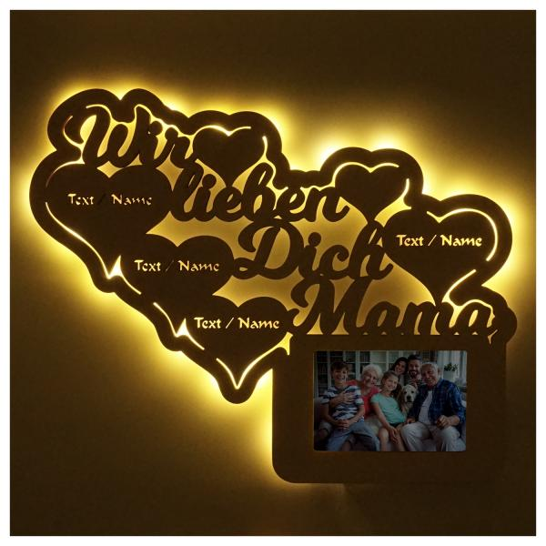 LED Wir lieben Dich Mama Bilderrahmen mit Personalisierung