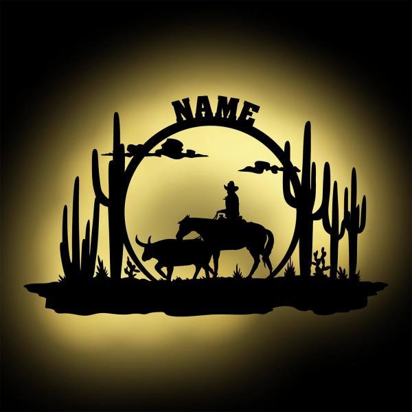 Cowboy LED Landschaft Dekoration Geschenkidee Männer