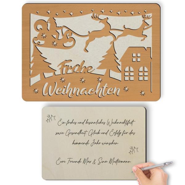 Frohe Weihnachten Glückwunschkarte aus Holz