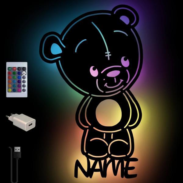 Farbwechsel Lampe Wandlampe Nachtlicht Teddybär Bär mit Namen personalisiert