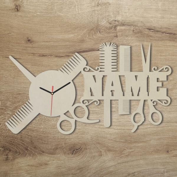 Friseur Geschenke Wanduhr mit Namen