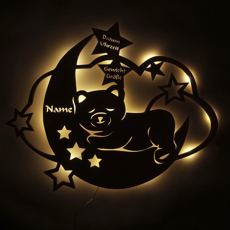- LED Teddy Mondtraum Geschenke mit Namen und Geburtsdaten... - Onlineshop Schlummerlicht24