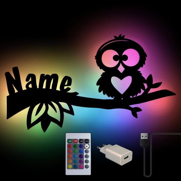 Eule auf Ast Wand Lampe USB Farbwechsel