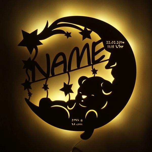 Nachtlicht Kinder Bär auf Mond