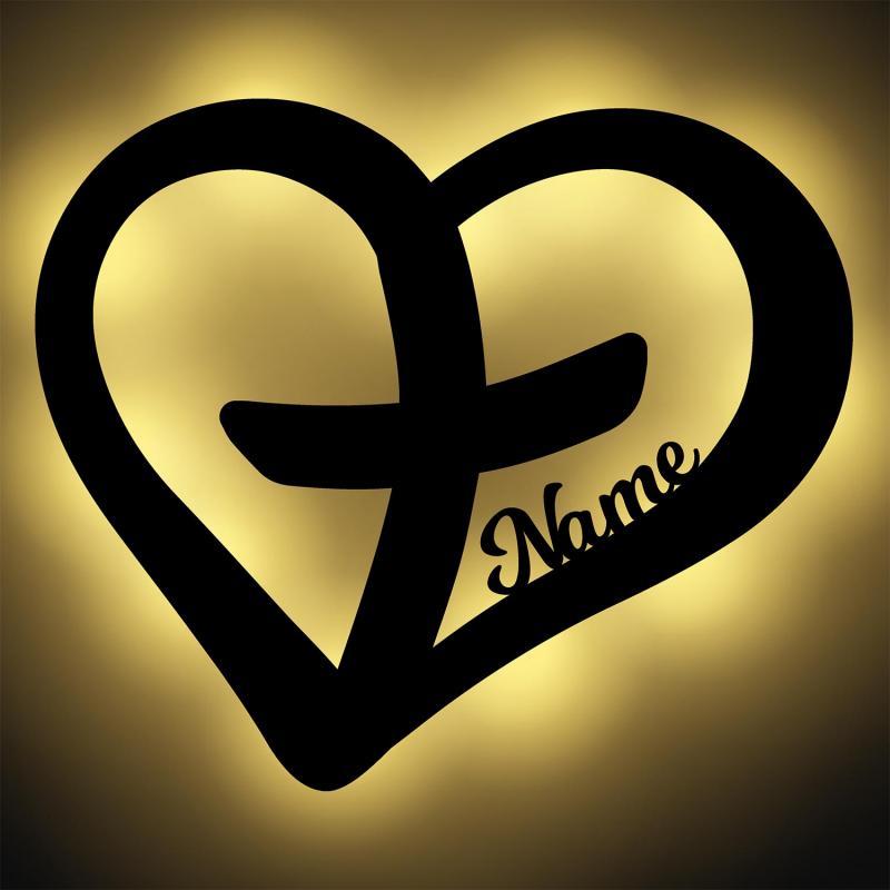 - Herz mit Kreuz Nachtlicht mit Personalisierung - Onlineshop Schlummerlicht24